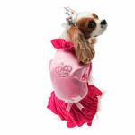 View Image 1 of Velvet Princess Dog Costume Dress - Magenta with Tiara