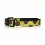 View Image 1 of WaLk-e-Woo Brown Dot on Moss Green Dog Collars