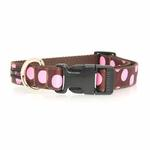 View Image 2 of WaLk-e-Woo Pink Dot on Brown Dog Collars