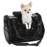 View Image 1 of Zack & Zoey Croco Pet Carrier Tote - Black