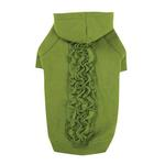 View Image 1 of Zack & Zoey Lucy Ruffle Dog Hoodie - Parrot Green