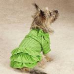 View Image 2 of Zack & Zoey Polka Dot Ruffle Dog Dress - Parrot Green