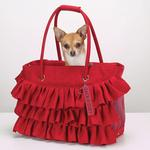 View Image 1 of Zack & Zoey Ruffle Pet Carrier - Red