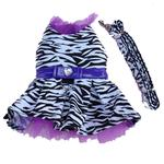 View Image 1 of Zebra Harness Dog Dress and Leash - Purple