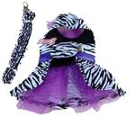 View Image 2 of Zebra Harness Dog Dress and Leash - Purple
