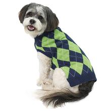 Alex's Argyle Dog Sweater - Navy/Lime
