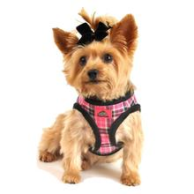 American River Choke Free Dog Harness - Pink Plaid and Black Minky Fur