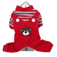 Animal Overalls Dog Pajamas - Bear Red