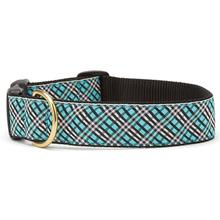 Aqua Plaid Wide Dog Collar by Up Country