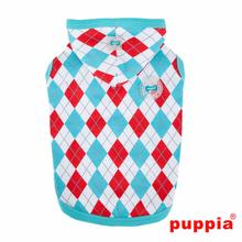 Argyle Hooded Dog Shirt by Puppia - Aqua