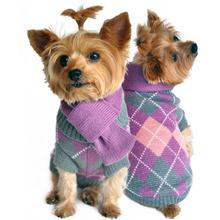 Argyle Purple Plaid Dog Sweater with Scarf