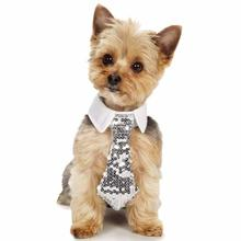 Aria Shimmer Nights Sequin Dog Necktie - Silver