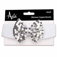 Aria Shimmer Sequin Dog Bowtie - Silver