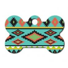 Aztec Bone Small Engraveable Pet I.D. Tag - Multi-colored