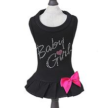 Baby Girl Dog Dress - Black with Pink Bow