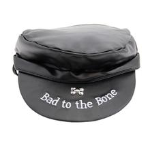 Bad to the Bone Biker Dog Hat - Black with Black Trim