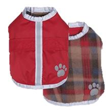 Be Good Reversible Nor'Easter Dog Jacket - Burgundy/Wood Plaid