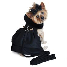 Black Wool and Black Fur Dog Harness Coat
