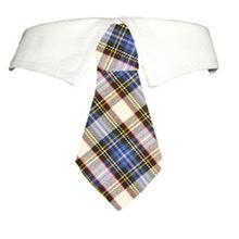 Blake Dog Shirt Collar and Tie - Blue and Yellow Plaid