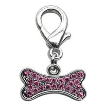 Bone Shaped Crystal Dog Collar Charm - Pink