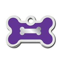 Bone Small Engravable Pet I.D. Tag - Chrome and Purple