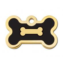 Bone Small Engravable Pet I.D. Tag - Gold and Black