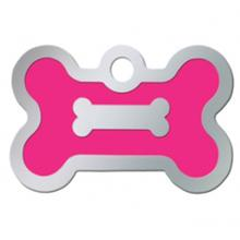 Bone Small Engraveable Pet I.D. Tag - Chrome and Neon Pink
