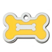 Bone Small Engraveable Pet I.D. Tag - Chrome and Yellow
