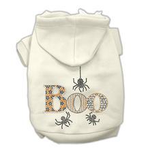 Boo Rhinestone Dog Hoodie - White Cream