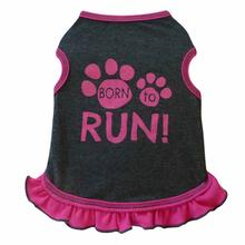 Born to Run Tank Dog Dress - Charcoal and Pink