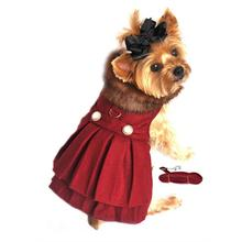 Wool Fur-Trimmed Dog Harness Coat - Burgundy