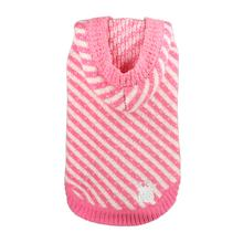 Candy Striped Hooded Dog Sweater by Hip Doggie - Pink