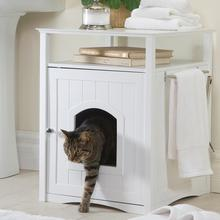 Cat Washroom and Night Stand - White