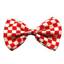 Checkered Dog Bow Tie - Red