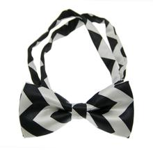 Chevron Dog Bow Tie - Black