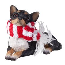 Chihuahua Lying Christmas Ornament - Tri Color
