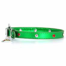 Christmas Dog Collar with Christmas Tree - Metallic Green