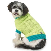 Cody's Chunky Cable Dog Sweater - Teal and Lime