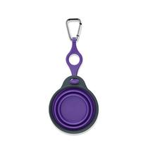 Collapsible Travel Cup with Bottle Holder and Carabiner - Purple