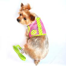 Cool Mesh Velcro Dog Harness - Frog Green Dot and Pink