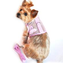 Cool Mesh Velcro Dog Harness - Girl Octopus Pink Gingham