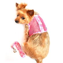 Cool Mesh Velcro Dog Harness - Hawaiian Hibiscus Pink