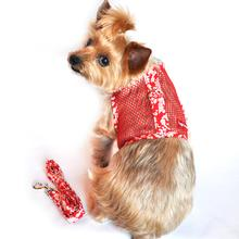 Cool Mesh Velcro Dog Harness - Hawaiian Hibiscus Red