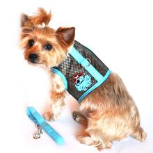 Cool Mesh Velcro Dog Harness - Octopus Pirate Blue & Black