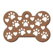 Copper Etched Bone Large Engravable Pet I.D. Tag - Paws and Hearts