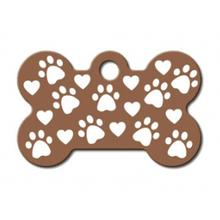 Copper Etched Bone Small Engraveable Pet I.D. Tag - Paws and Hearts