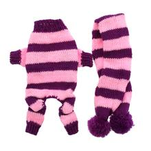 Cozy Knitted Dog Jumper with Scarf - Pink and Purple Stripes