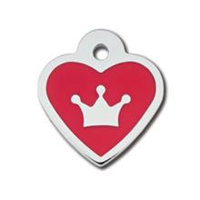 Crown Heart Small Engraveable Pet I.D. Tag - Chrome and Red