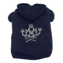 Crowned Crossbones Dog Hoodie - Black
