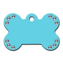 Crystal Diva Bone Large Engravable Pet I.D. Tag - Turquoise